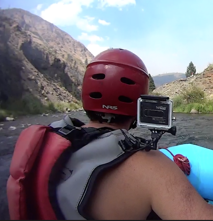 The GoVest's safety leash shown while river rafting down the Truckee River