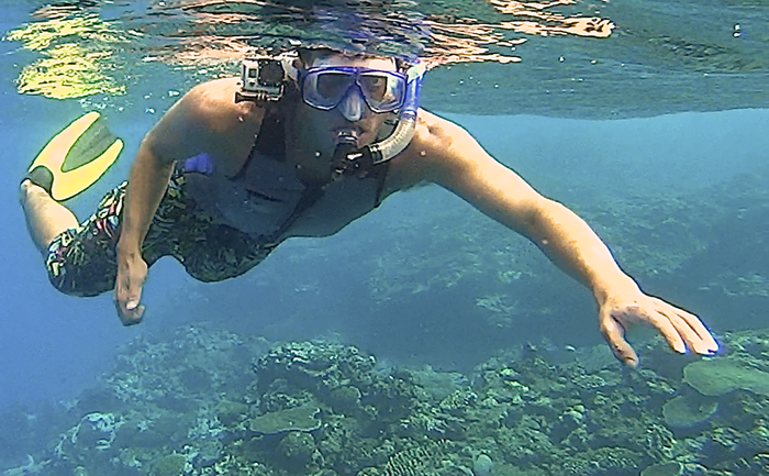 The GoVest prototype being used while snorkeling in Fiji