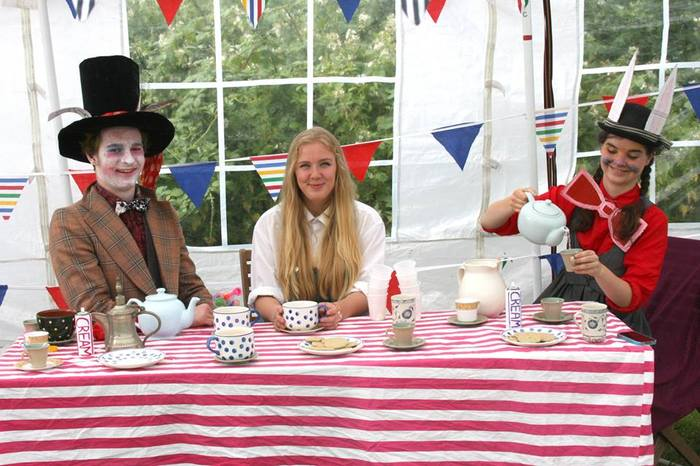 Marissa, Nick and Flo performing in The Human Zoo's 'Mad Hatter's Tea Party', which we produced in association with Tandridge Village Committee, in return for support-in-kind for ZooFest.