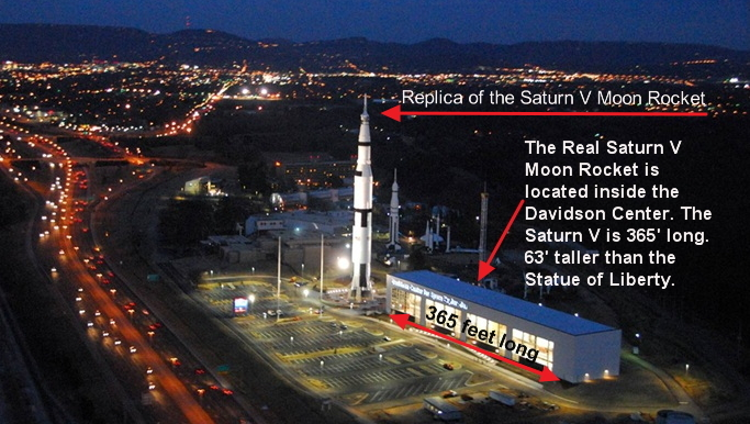 There are two Saturn V Moon Rockets at the U.S Space & Rocket Center. One is a replica and the other is the real thing.