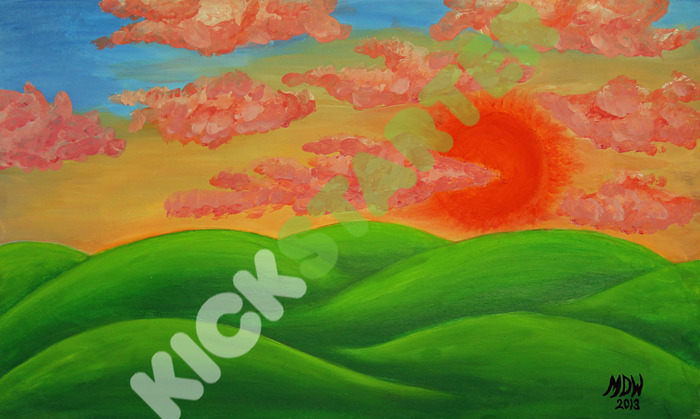 Kickstarter waterrnark will be optional on prints and is not present on the original painting