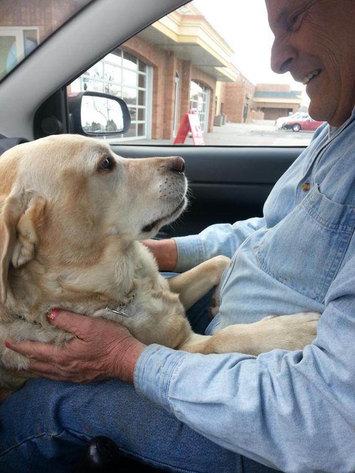 Gerry and his Guide Dog, London