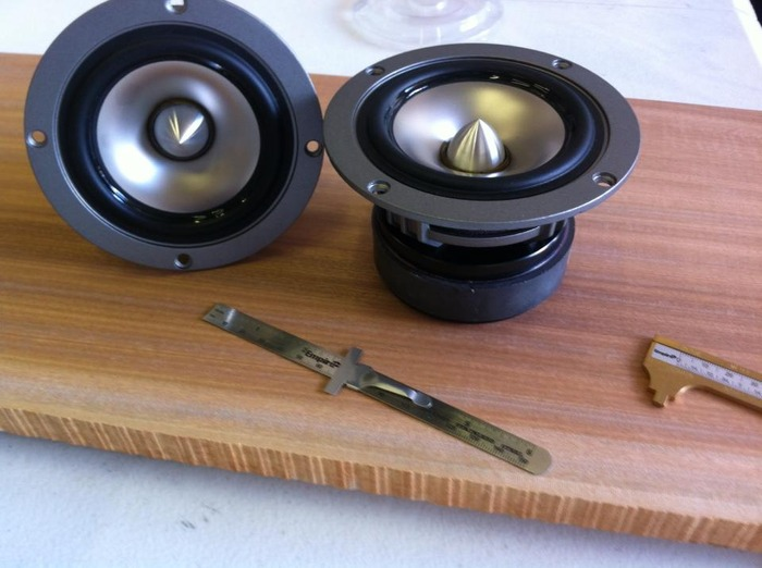"Spun Titanium Cones and massive drivers are only two reasons I love these. These are the best I've heard since I was in the studio. Warm tone and Crystal Clear Reference Quality. To put things into perspective, that is a 6"" slide rule up front."