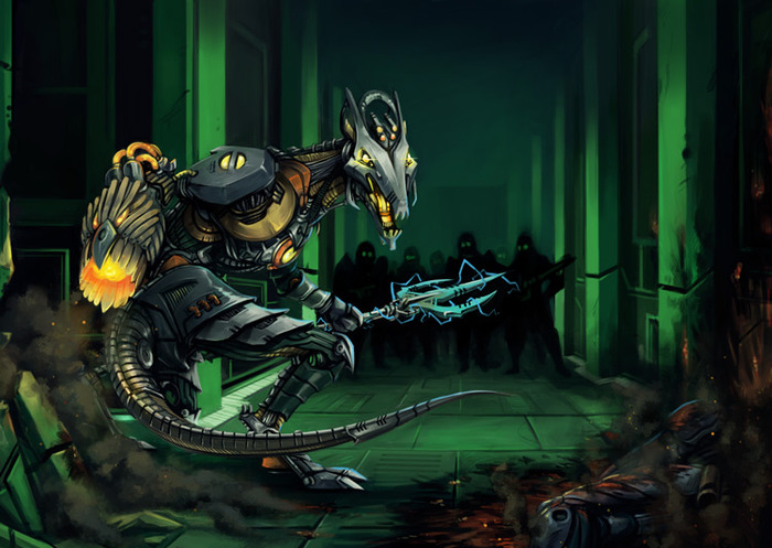 The Mark I Assault Fiend with Napalm-X Flame Weapon and Power Trident.