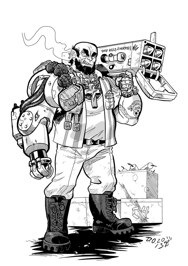 The Wrecker: Reynaldo Megaton, the first cyborg to play professional baseball in Cuba, originally turned to crime to pay off mob debts. It ended up being easier to just kill his debtors. Wreckers are the demolition experts of Stab City!