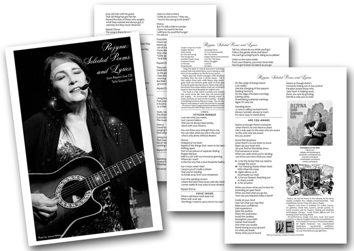 My 4-Page design of my Show Lyric Program (there are also 8 and 16 page versions on the design table with art and big photos)