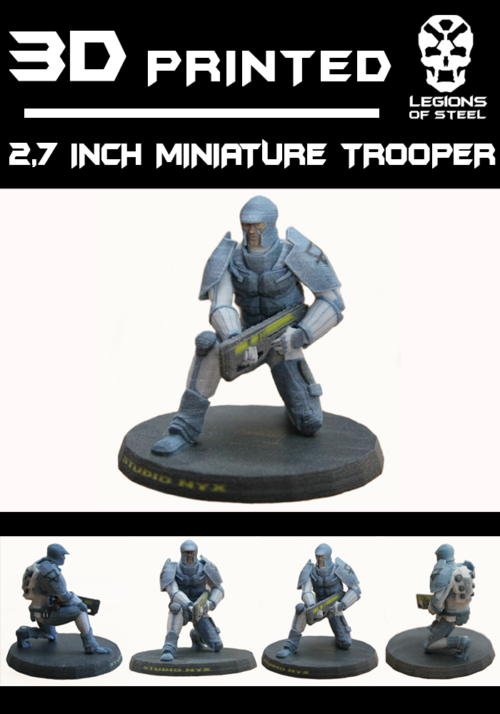 3D Trooper model, printed by FabZat. Let us know if you prefer to receive a non-textured model to paint it with you own pattern.