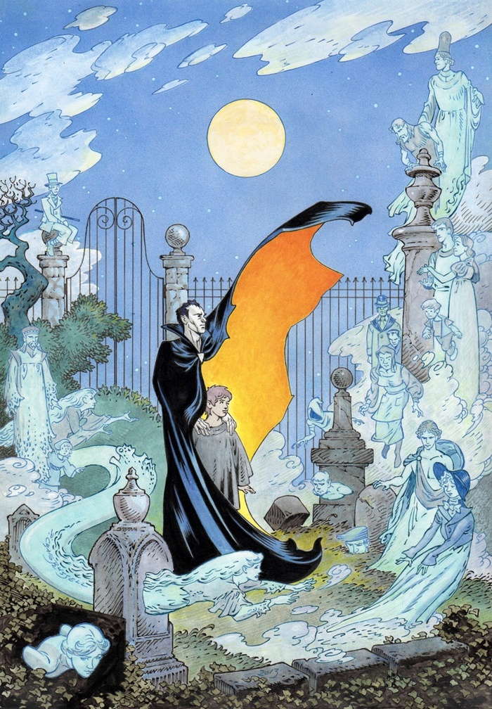 P. Craig Russell took his original art from the cover to The Graveyard Book, did some additional drawing on the piece, then lovingly hand-colored it so that we can offer it—sans logo and credits—as a beautiful fine art Giclée print.
