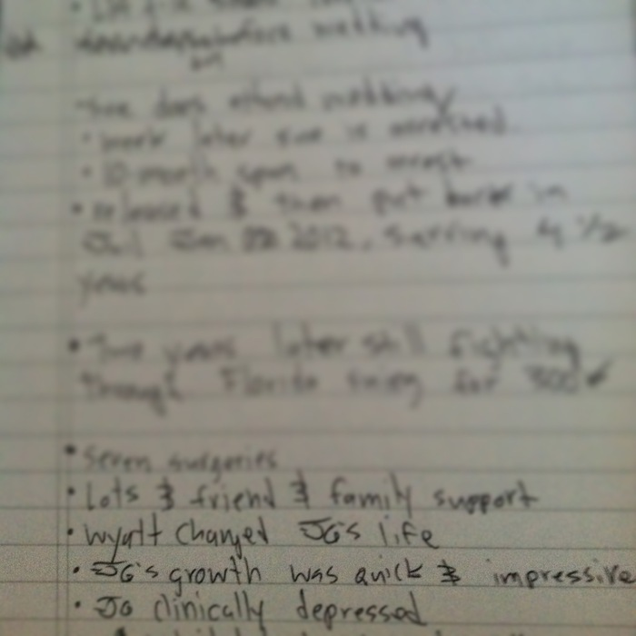 Notes from pre-production interviews with Josh, his wife Ashley, and Mother-In-Law.