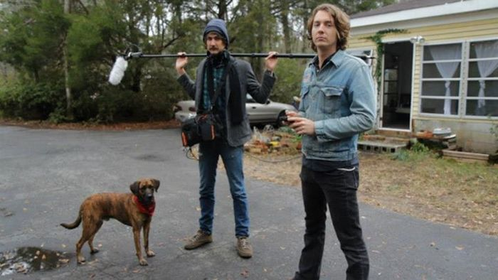 Producer/Sound Guy, Sean Clark and co-producer, Paul Bannister with Townes Van Zandt (dog)