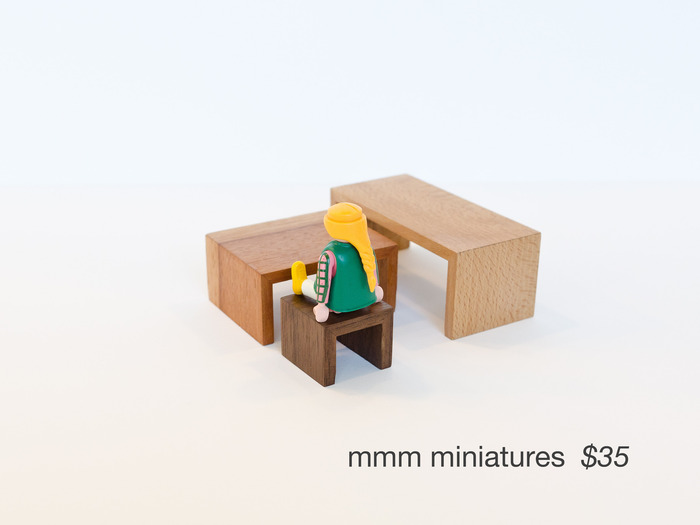 Using the same fabrication techniques as their larger cousins and made from reclaimed wood, we've created miniatures tables and benches. This reward comes with three in a selection of sizes and materials. (Figurine not included)