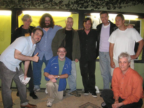 Dollar Baby Filmmakers at an L.A. Festival - L-R (Standing) Mick Garris, Daniel Thron, Jeff Schiro, James Gonis, Robert Cochrane, Doveed Linder - sitting - James Cole, John Woodward.
