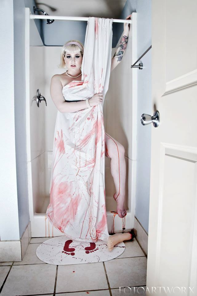 "Sneak Peek from Horror Decor shoot w/model Kelli Austin & Photographer Fotoartworx--featuring ""Bloody Bath Mat"" from Horror Decor"