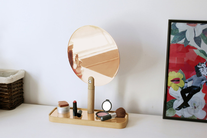 Table Vanity Mirror with Tray in Natural Oak or Fluoro Yellow and Copper or Chrome mirror and inlay. The mirror rotates too!