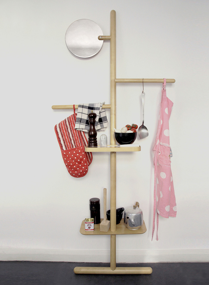 Camerino Valet Stand in Natural Oak and Copper or Chrome mirror.