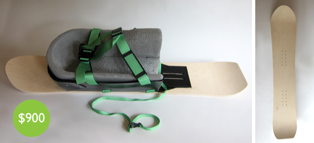 KneeFlyer with Custom Wood Snowboard