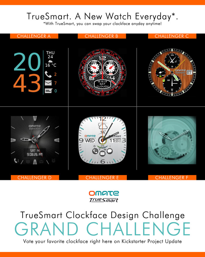 TrueSmart. A New Watch Everyday. Vote for your favorite Clockfaces now!!