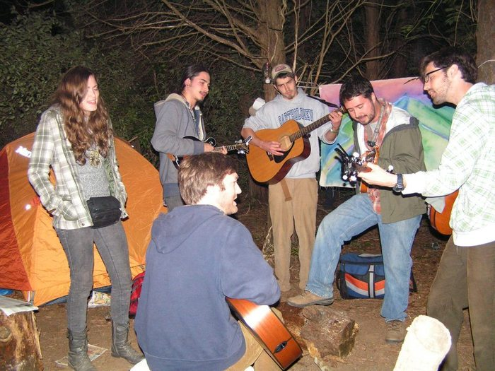 Campfire jammin' with my brothers Aaron and Joe and Fireside String Band members Catfish and Carson and our friend Maci