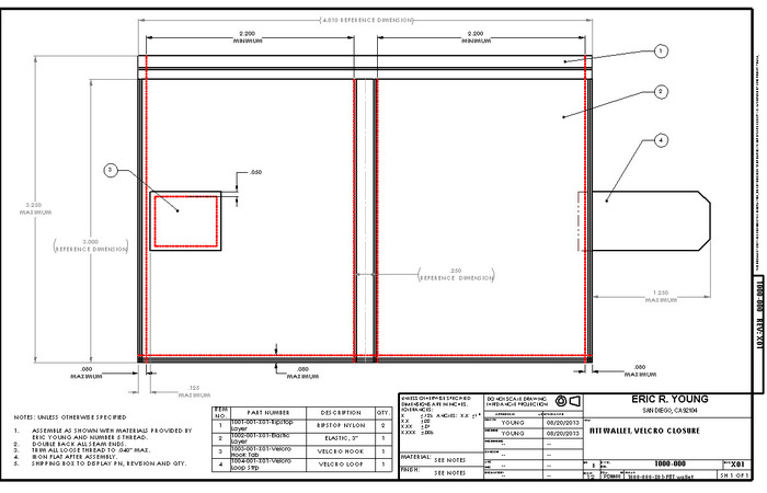 Manufacturing drawing for the first revision of the FITT wallet. Drawings like this one are used to control the manufacturing process and ensure the finished goods meet the quality standards specified.
