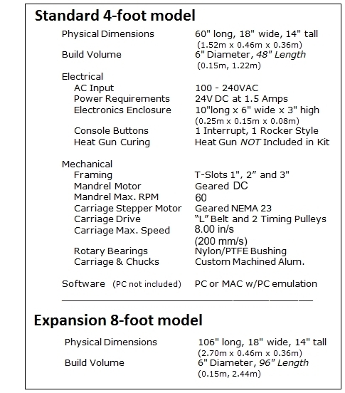 X-Winder Technical Specifications