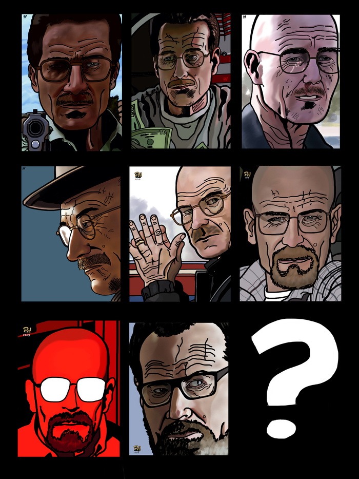 Walter White from Premier to Finale Print