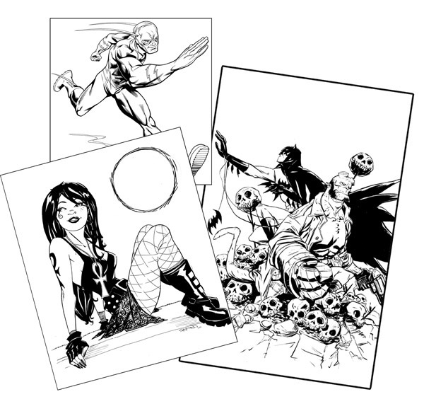 Inked Sketches! Drawn inside the front cover and available as separate pieces!