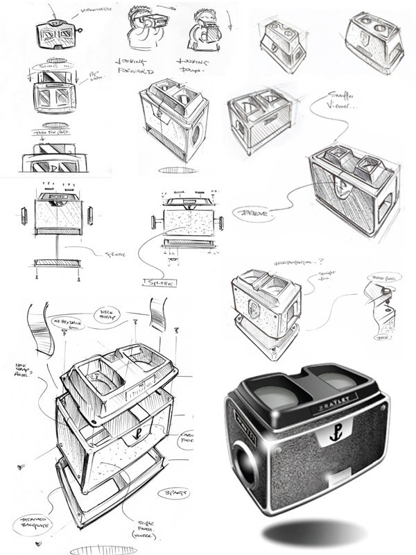 Initial sketches showing the evolution from concept through to first impression.
