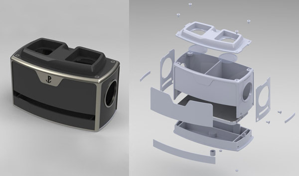 A pre-prototype rendered image & an exploded view of the TRUE-VIEW™ for manufacturing viability.