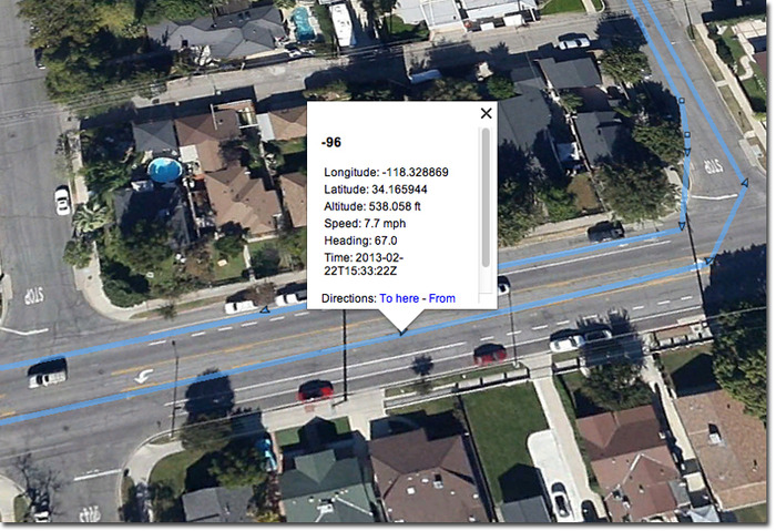Files open in Google Earth and show the date, time, location, speed and route you traveled.