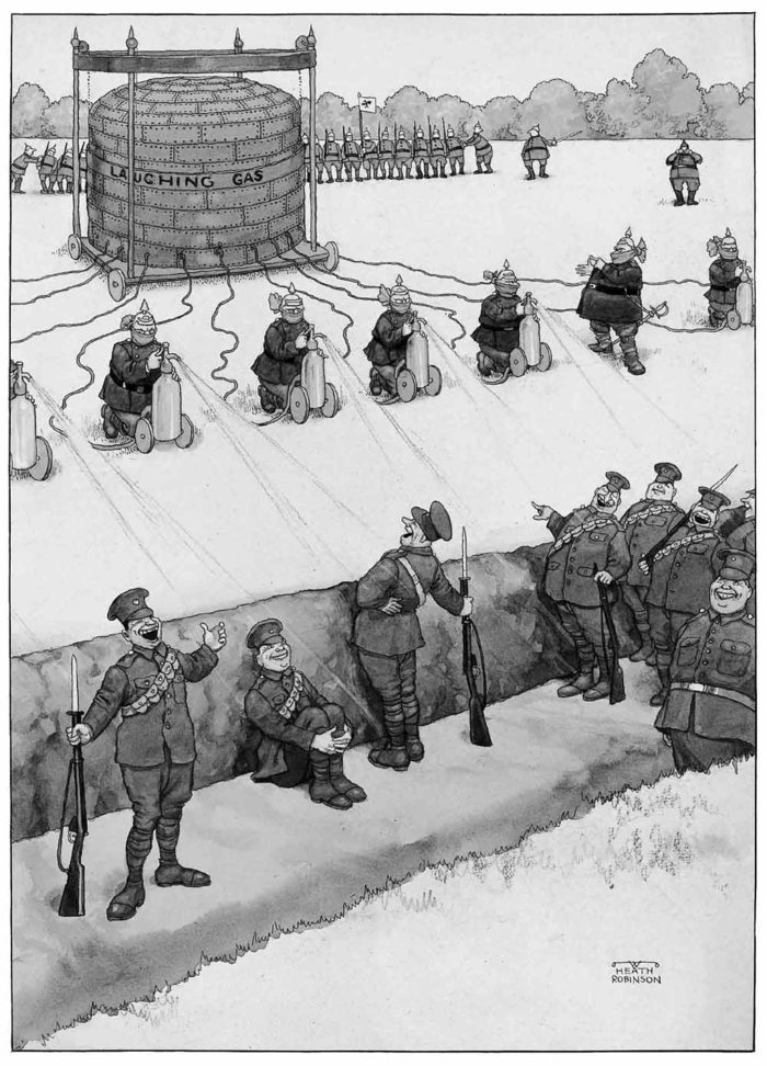 Breaches of the Hague Convention - Huns using siphons of laughing gas to overcome our troops before an attack in close formation, 1915.