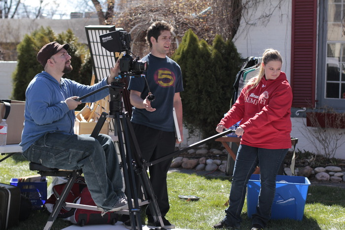 Squidjib's small crew uses an assortment of equipment, including this dolly and a homemade jib.