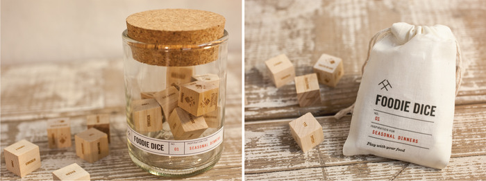 The dice are available in an upcycled wine bottle tumbler or a cotton drawstring pouch