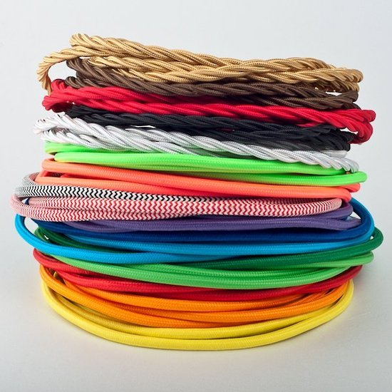 A wide selection of vintage style coloured cords are availble