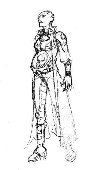 Sketch of Dagmar, the ruthless crime lord of Ataraxis. Dagmar is controlled by the sinister mutant fetus that resides in her makeshift plexiglas womb.