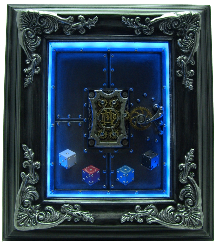Optional dramatic mood lighting for the Mechanical Card Frame.