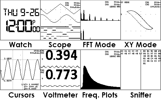 Some of the Oscilloscope Watch modes and functions