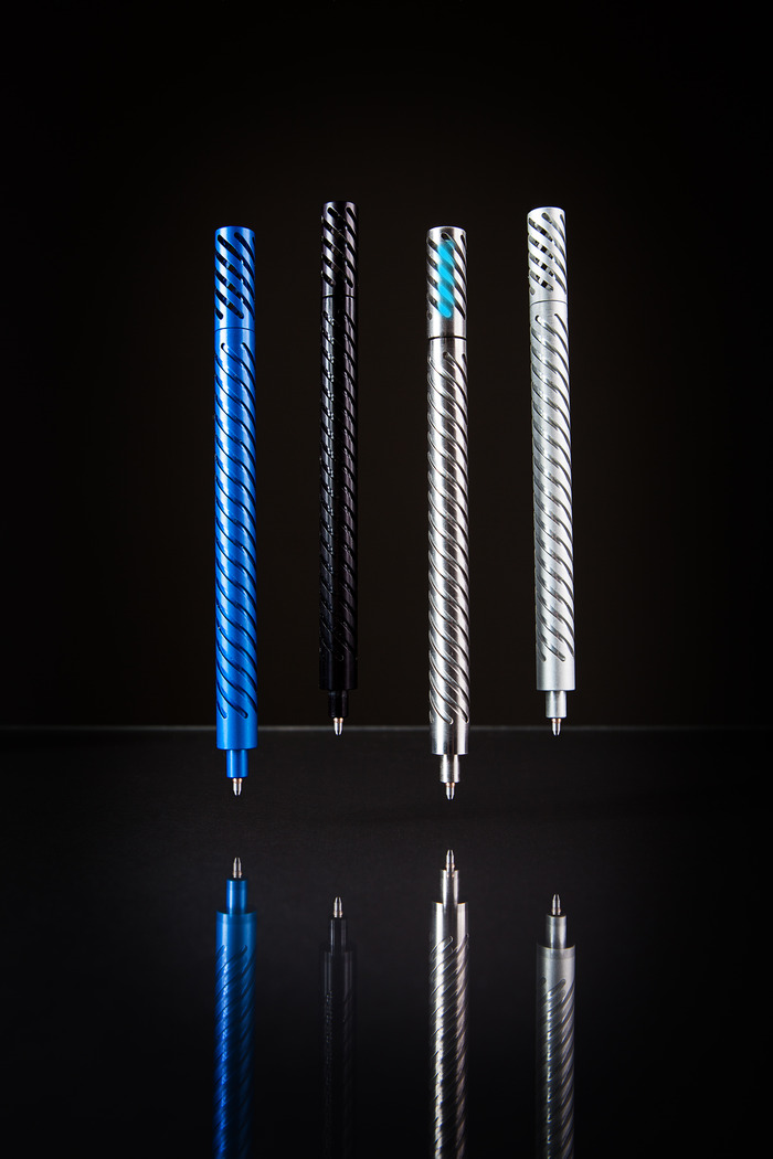 Titanium Pen with Aluminum Pens in Black, Clear and Blue.