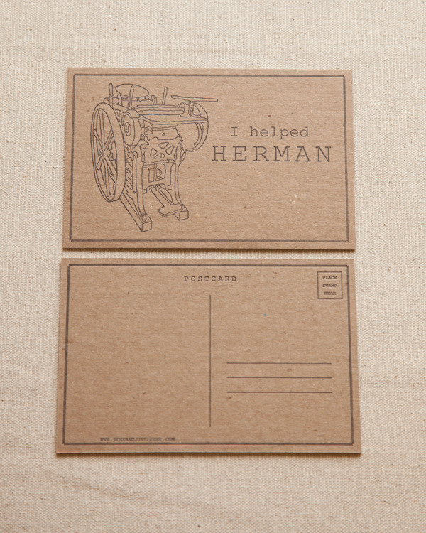 I Helped Herman Letterpress Postcard