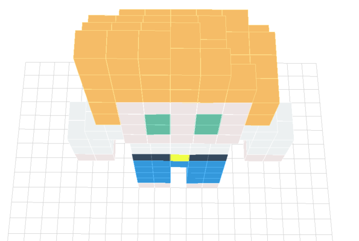 A simple model Alex created. He created each frame and using the modified voxel painter that allows animation. He then added functionality to generate a 2D animated sprite sheets.