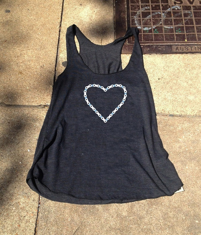American Apparel Bike Chain Heart Tank (designed and printed in ATX)