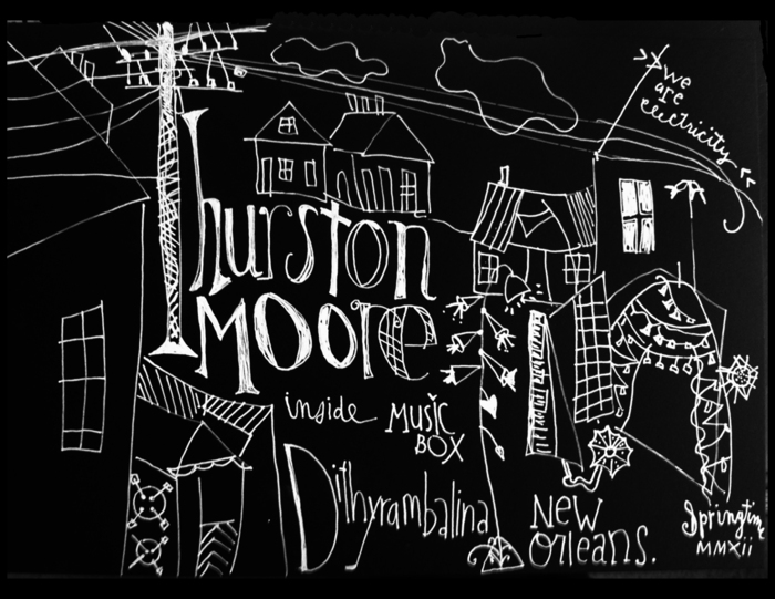 $50 Level: A selection of Music Box collectibles including this hand drawn flyer from Thurston Moore's performance.