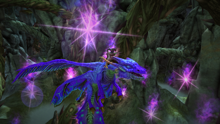 The Shaman riding a Faerie Dragon, and deploying the dragon's Sprite Cloud countermeasures.
