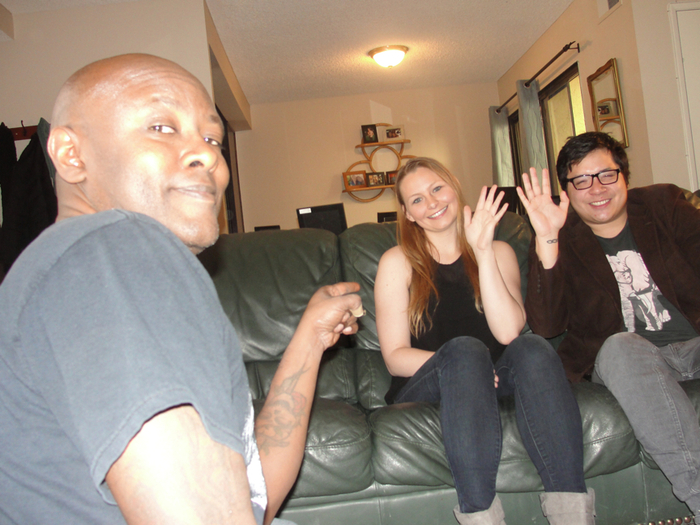 Writer/Director TERRENCE KELSEY with CAITLIN HALLIBURTON & ADAM WONG PEREZ