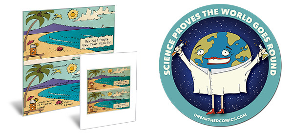 """Scientist Vacations"" prints and ""Science Proves the World Goes Round"" decals"