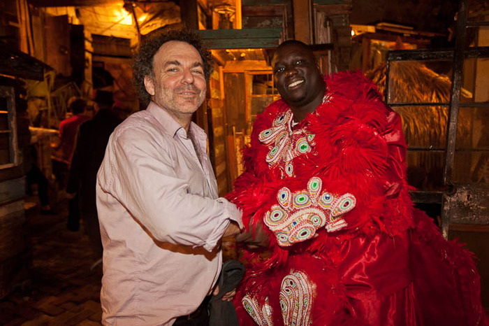 Unlikely but amazing collaborators: Indie Rock percussionist Jim White and Theris Valvery, a Flag Boy with the Black Feathers Mardi Gras Indian Tribe after a performance.