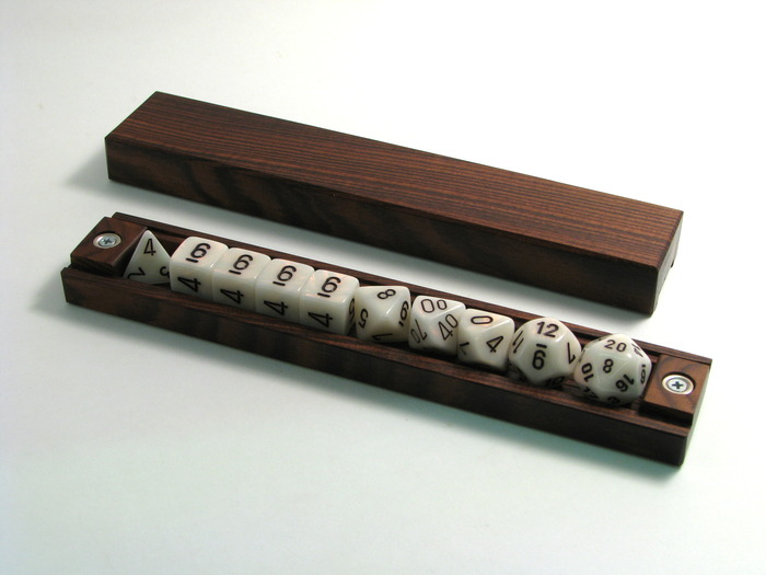 Expanded Dice Vault in Rosewood, RPG dice set with extra d6s
