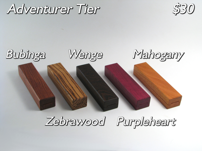 The vault in Bubinga, Zebrawood, Wenge, Purpleheart (Kickstarter Exclusive!) and Mahogany.