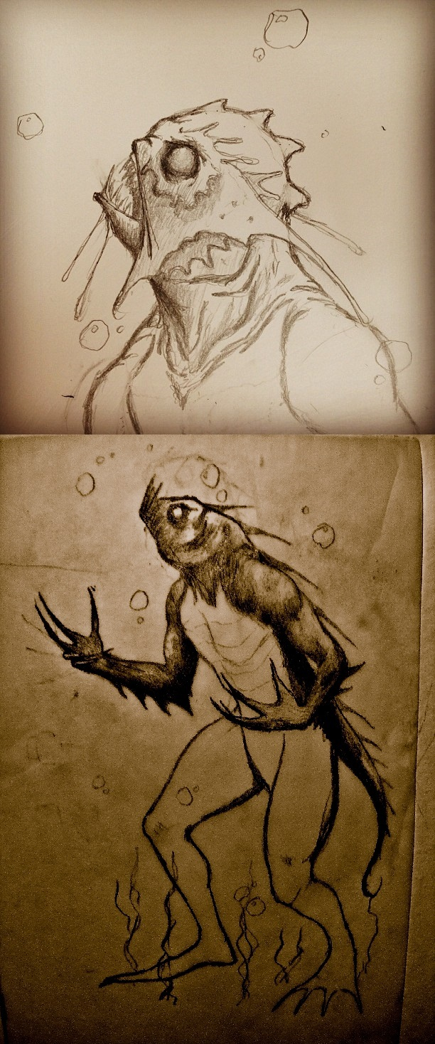 "Early ""Deep One""  concept sketches.  *not the final art"