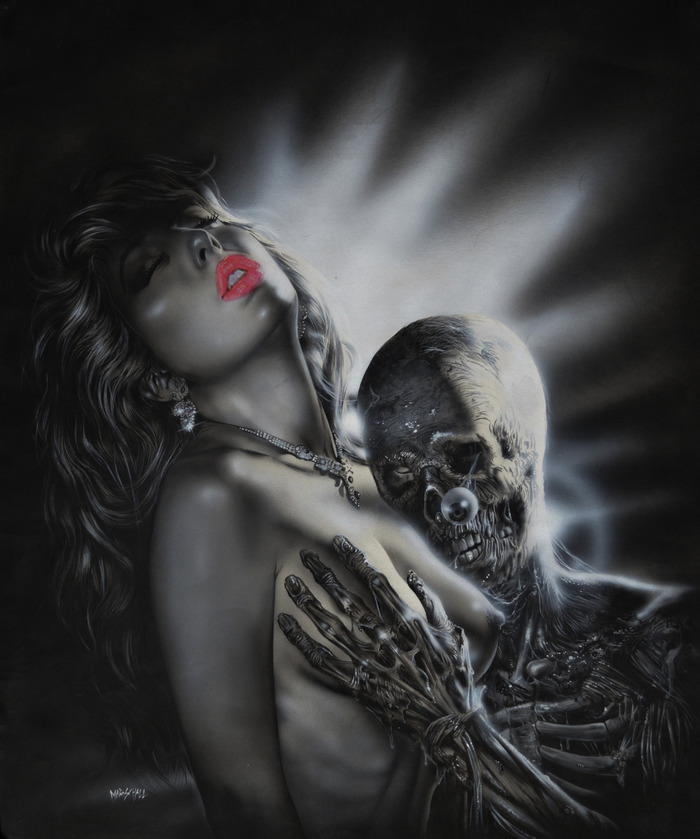 "Original Artwork by Andreas Marschall of ""NEKROMANTIK"" a film by Jörg Buttgereit (19.6 x 23.8 inches, airbrush acrylic colour on paper, 1987) - $10,000"