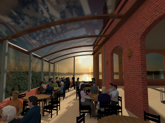 An early rendering we made: Dining on Moran's lower south roof in mid-June at sunset. The seating might change, but the view is real!